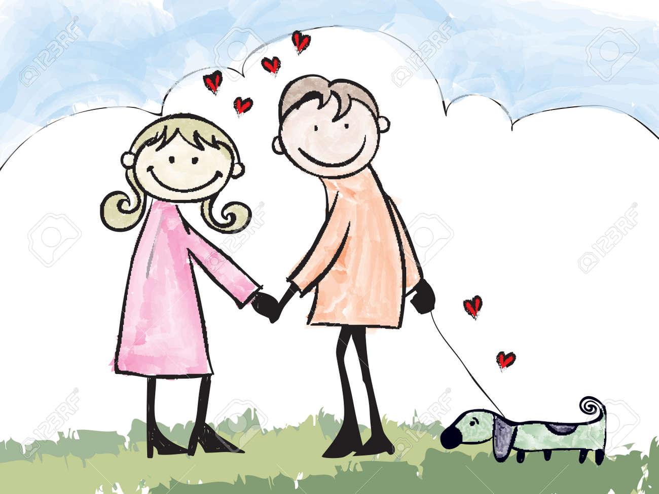 幸せな恋人のカップル デート漫画イラスト ロイヤリティフリークリップ