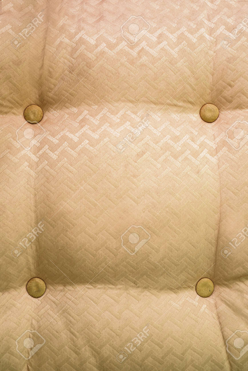 Macro Shot Of Vintage Style Fabric With Button Texture From Sofa ...