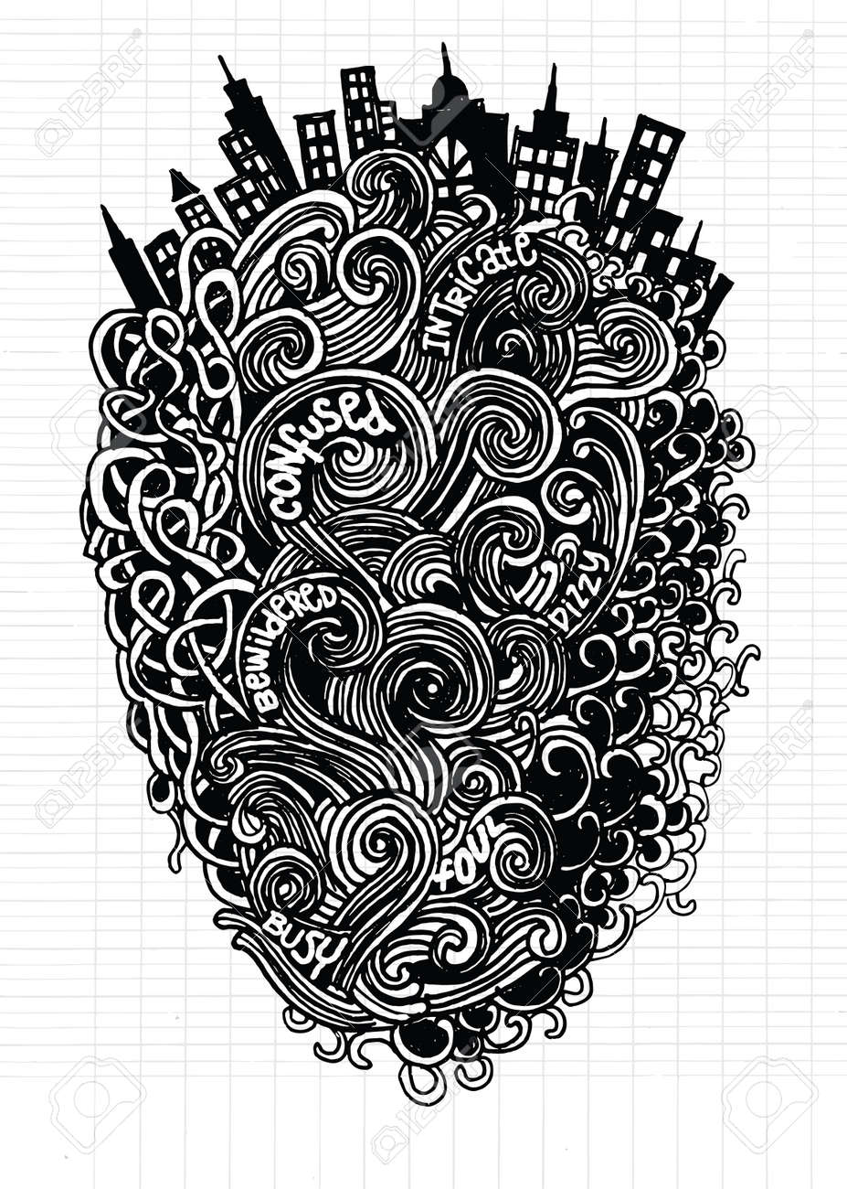 Hipster Hand Drawn Vector Pattern Abstract Background With Linear