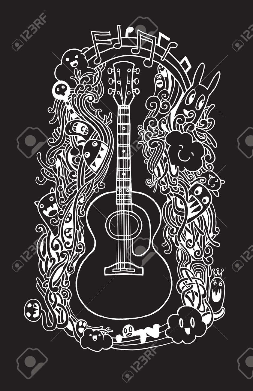 Hand Drawing Doodle Acoustic Guitar Flat Design Vector Illustration