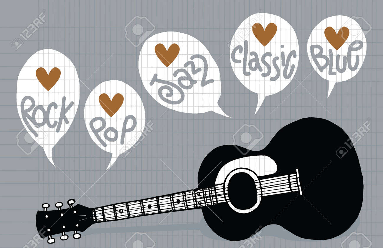 Hand Drawing Doodle Acoustic Guitar Flat Design Drawing Style