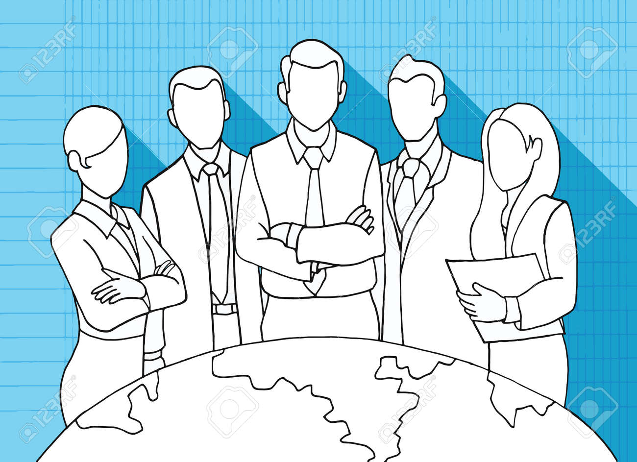 hand drawing successful team leader a team of successful hand drawing successful team leader a team of successful executives led by a great and