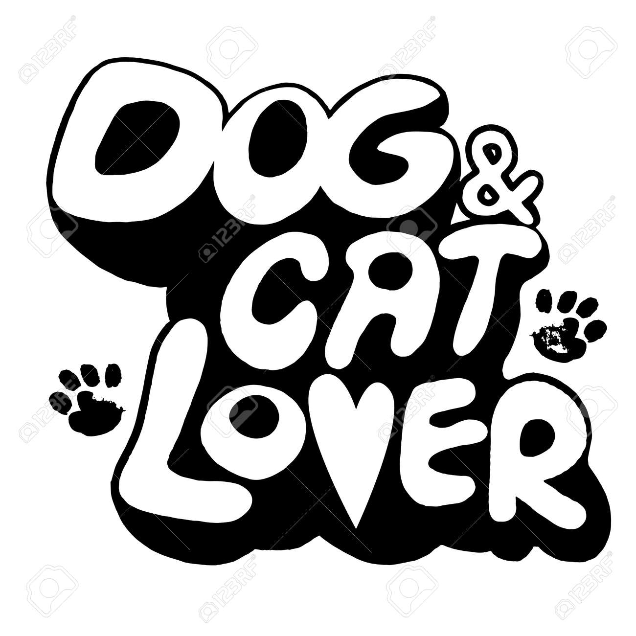 Hand Drawing Doodle Dog And Cat Text With Paw Printvector Illustration