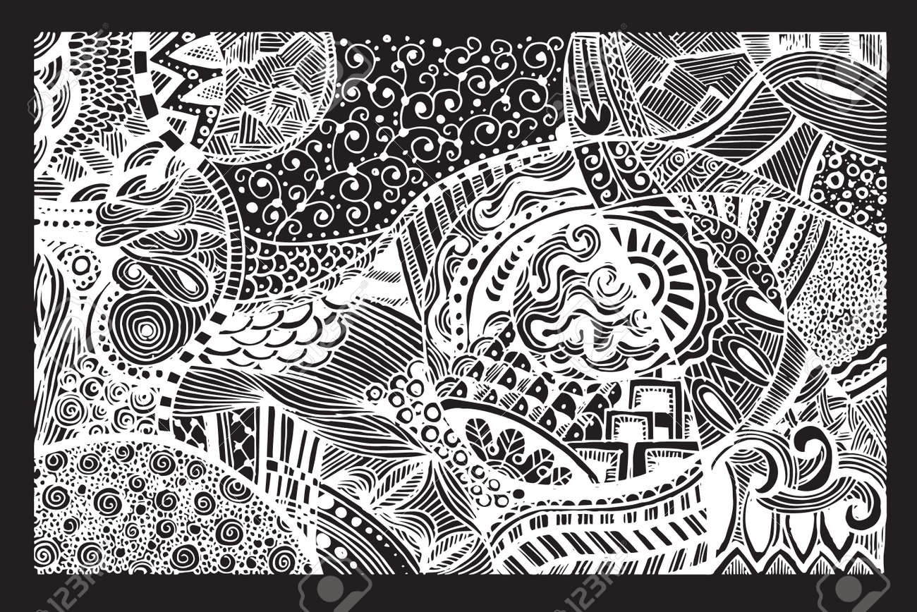 Hand drawing Doodle pattern background  Design Asian, ethnic,