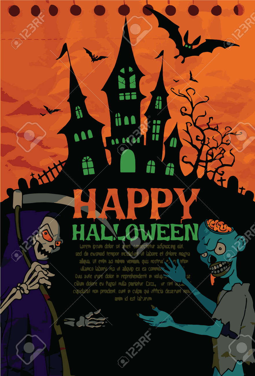 halloween design template spooky landscape with castlel zombie