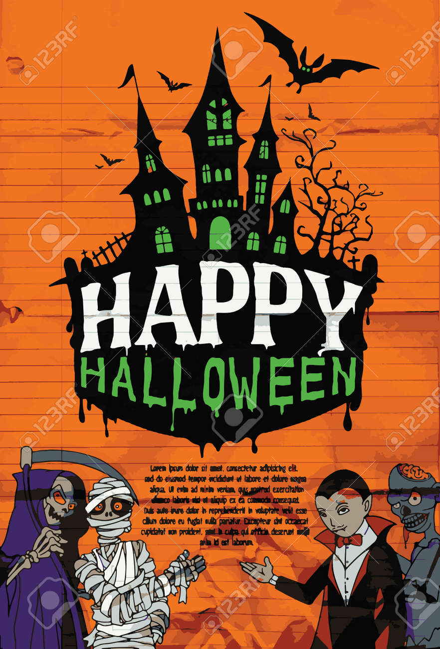 halloween design template spooky landscape with castlel dracula
