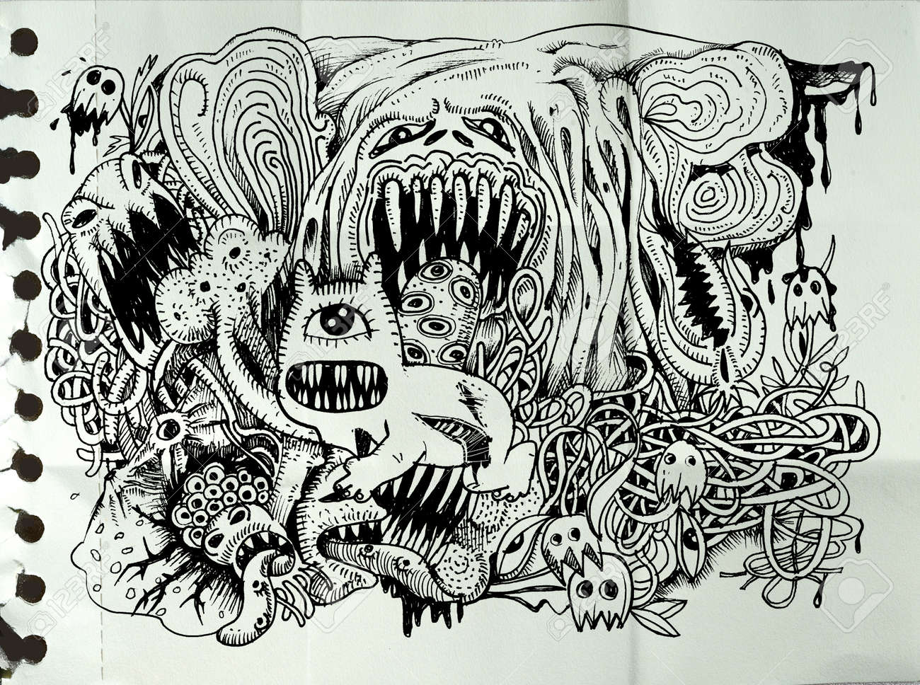 Line Drawing Monster : Monster drawing hand drawn with combination lines vector