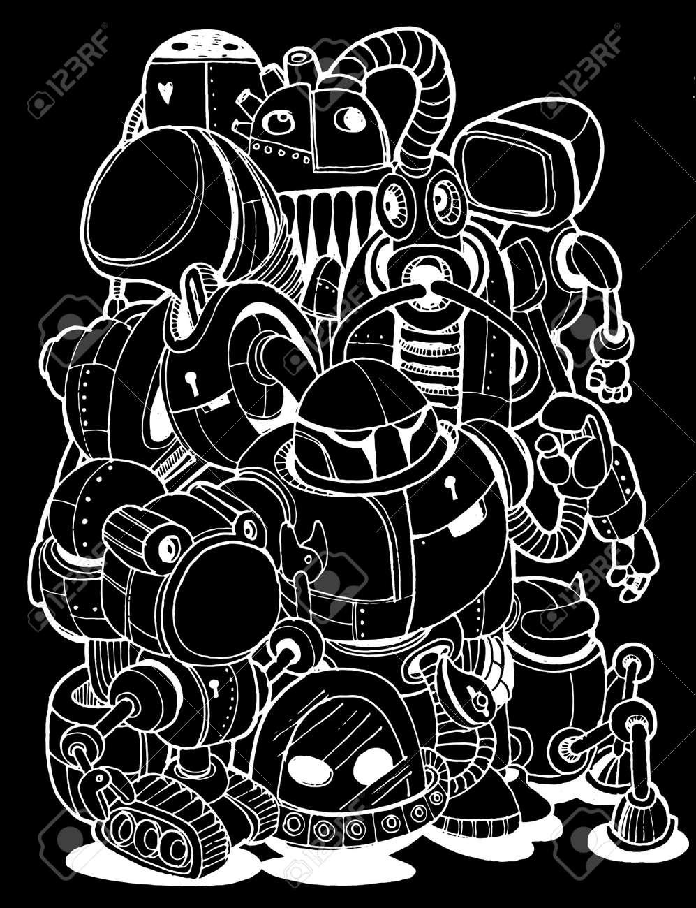Hand Drawn Vector Illustration of Doodle robot element, illustrator