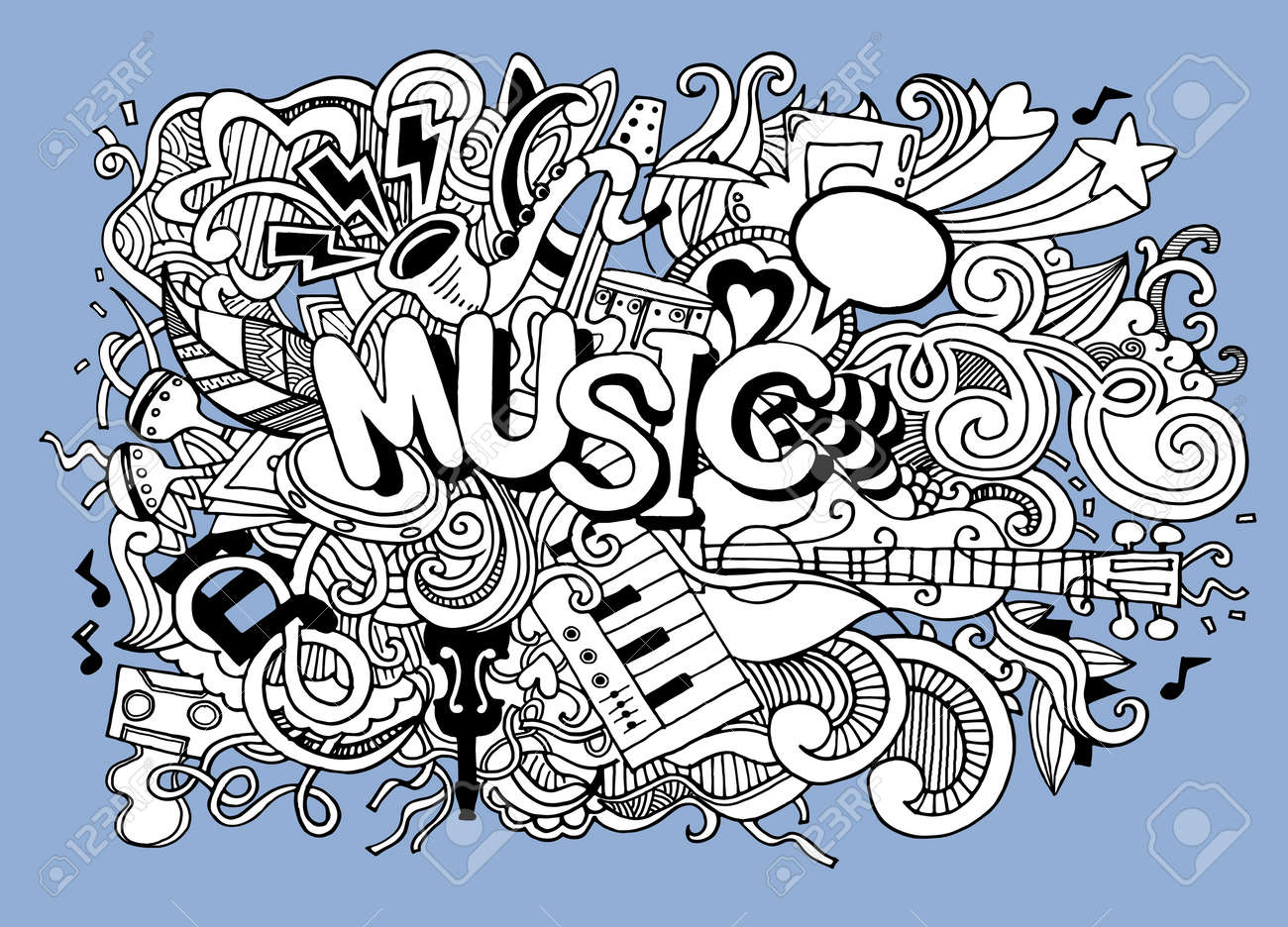 Dessin De Music abstract music background ,collage with musical instruments.hand