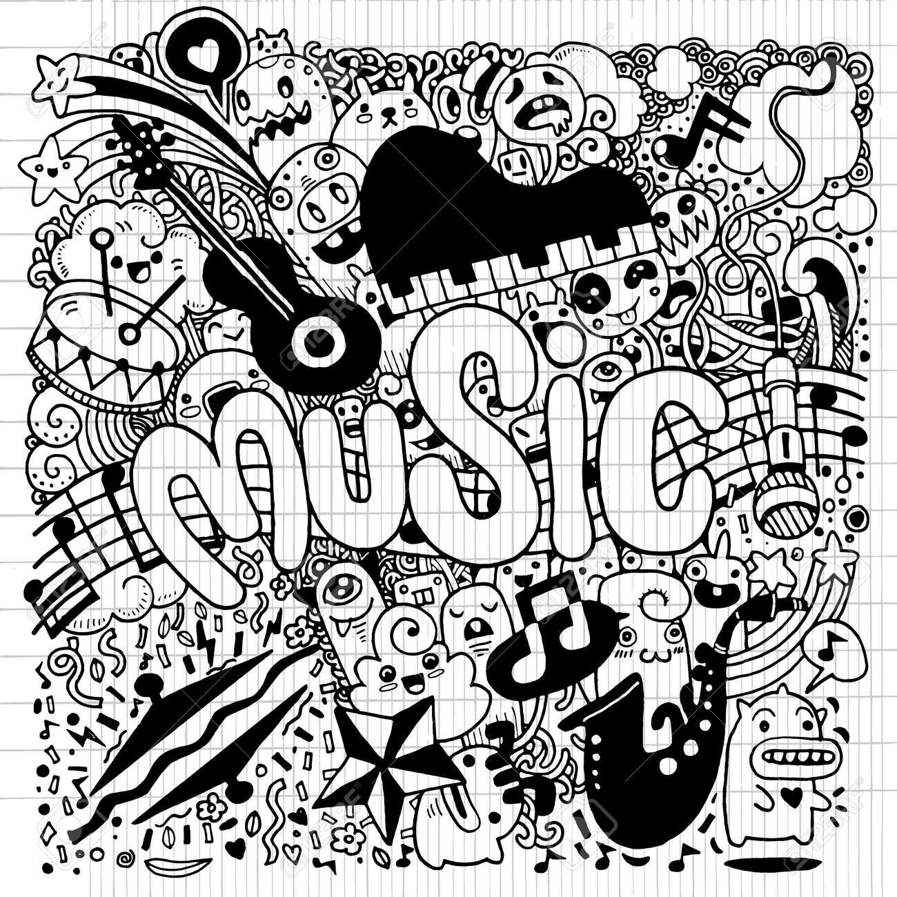 Dessin De Music résumé musique de fond, collage avec instruments.hand musicale