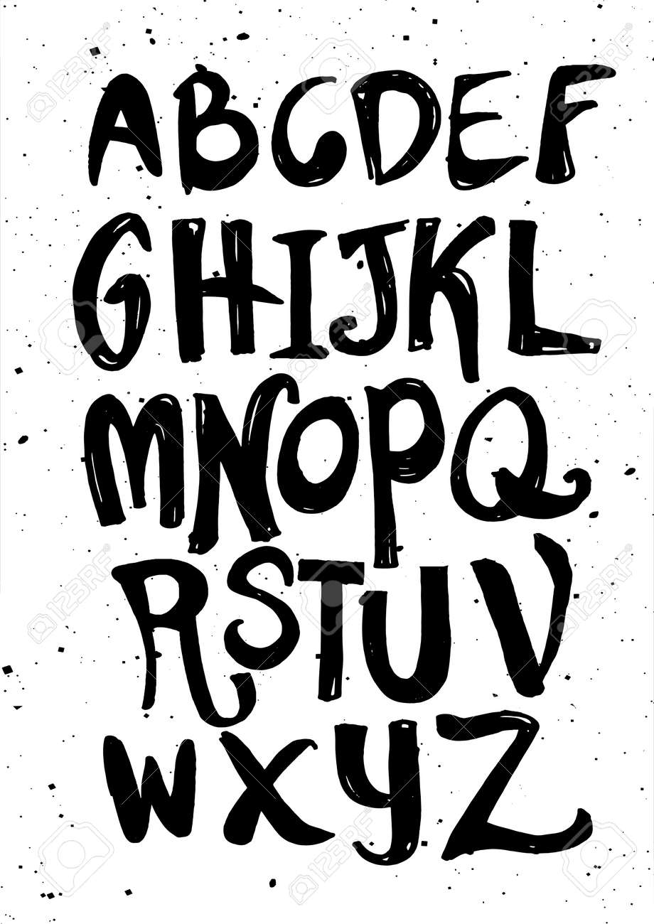Hand Drawn Alphabet LettersMarker Handwritten Font Is Perfect For Cards And Posters Isolated