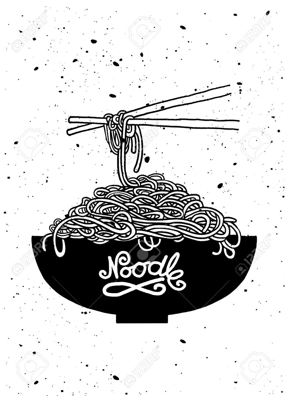 Cartoon Noodles In The Bowl With Chopsticks. Hand Drawn Vector ...