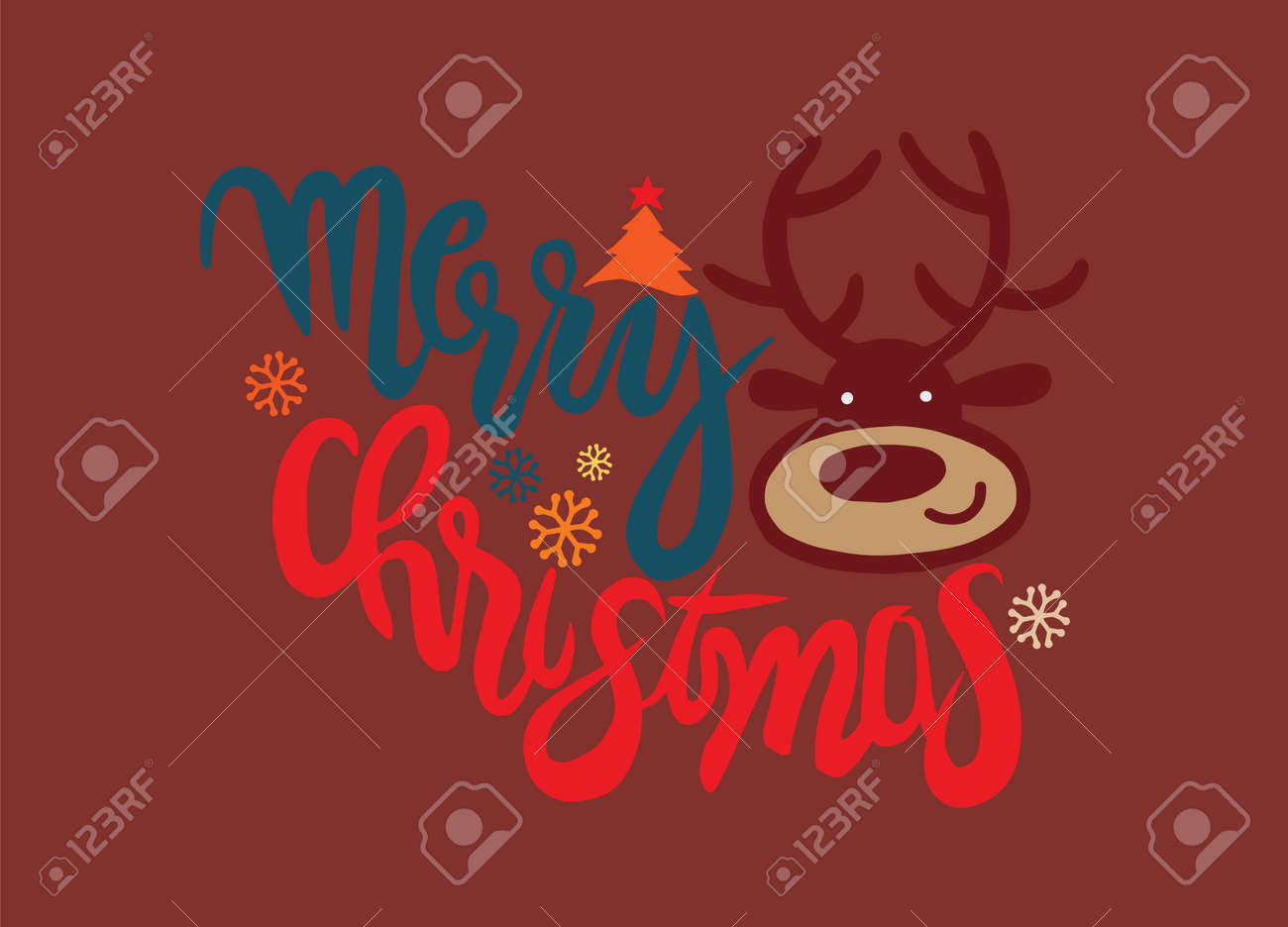 Reindeer Christmas Cards Drawings.Hand Drawing Cartoon Character Merry Christmas Vector Christmas