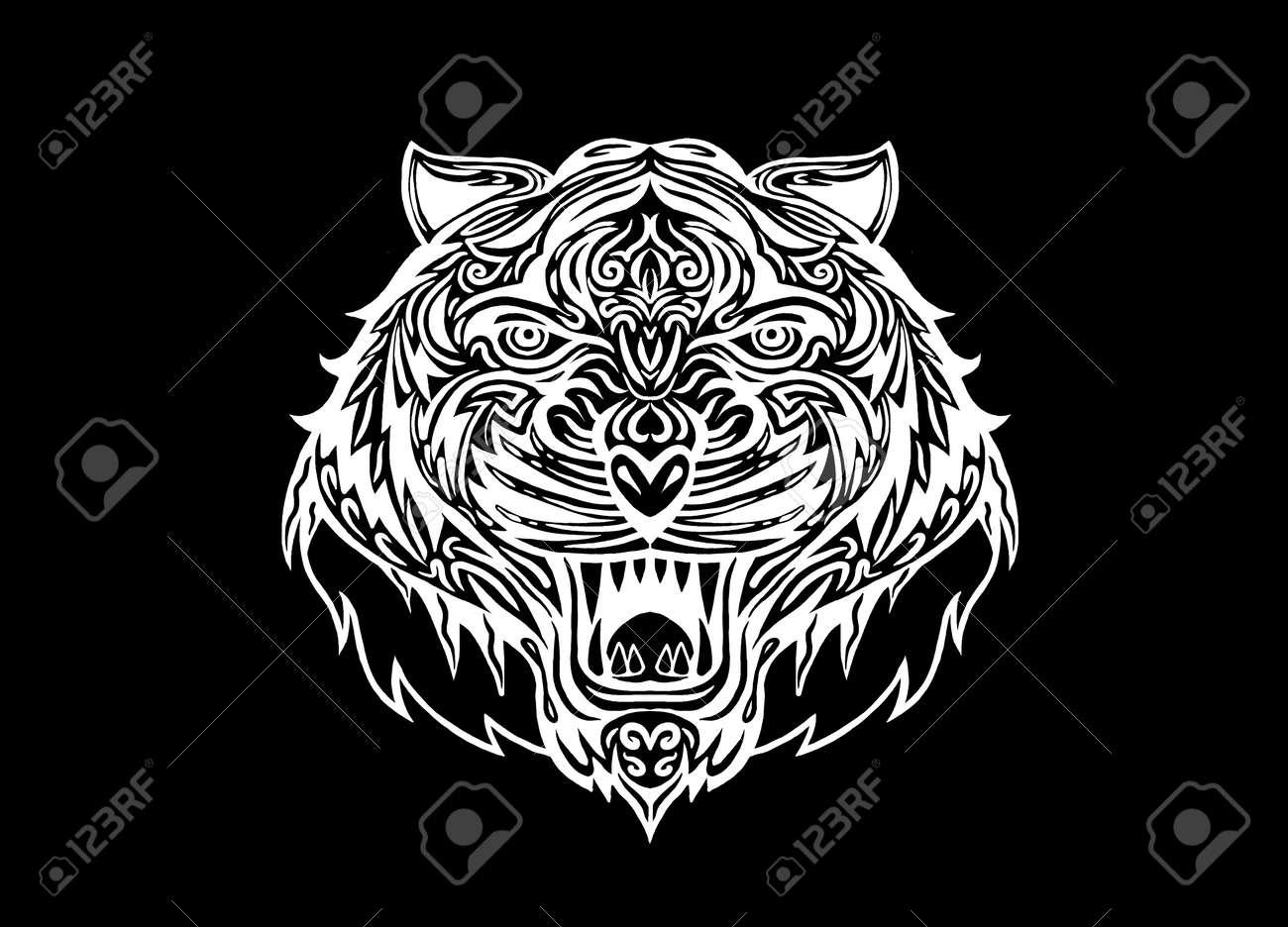 Mano La Cabeza De Tigre Dibujado Tattoopsychedelic Tigre Aislado