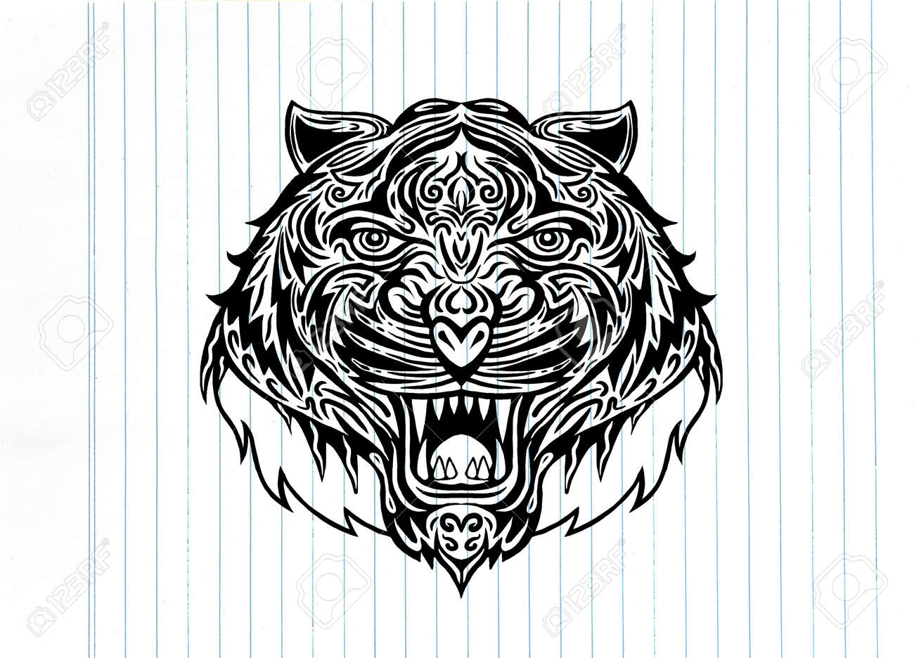 4d4d9b7961aa7 Hand drawn Tiger head Tattoo.psychedelic tiger isolated, Vector  illustration. Stock Vector -