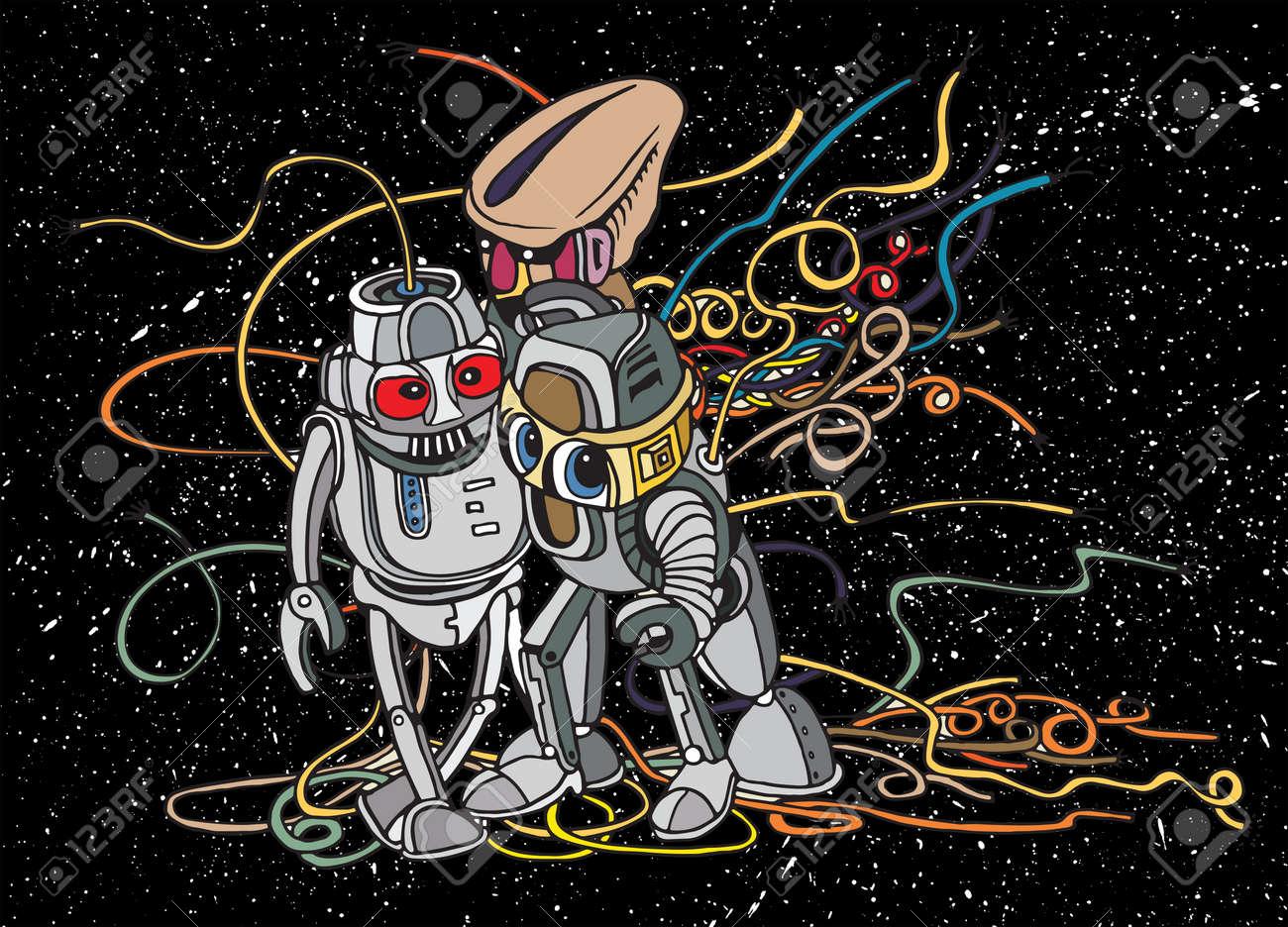 Line Art Vector Illustrator : Hand drawn vector illustration of doodle robot illustrator line
