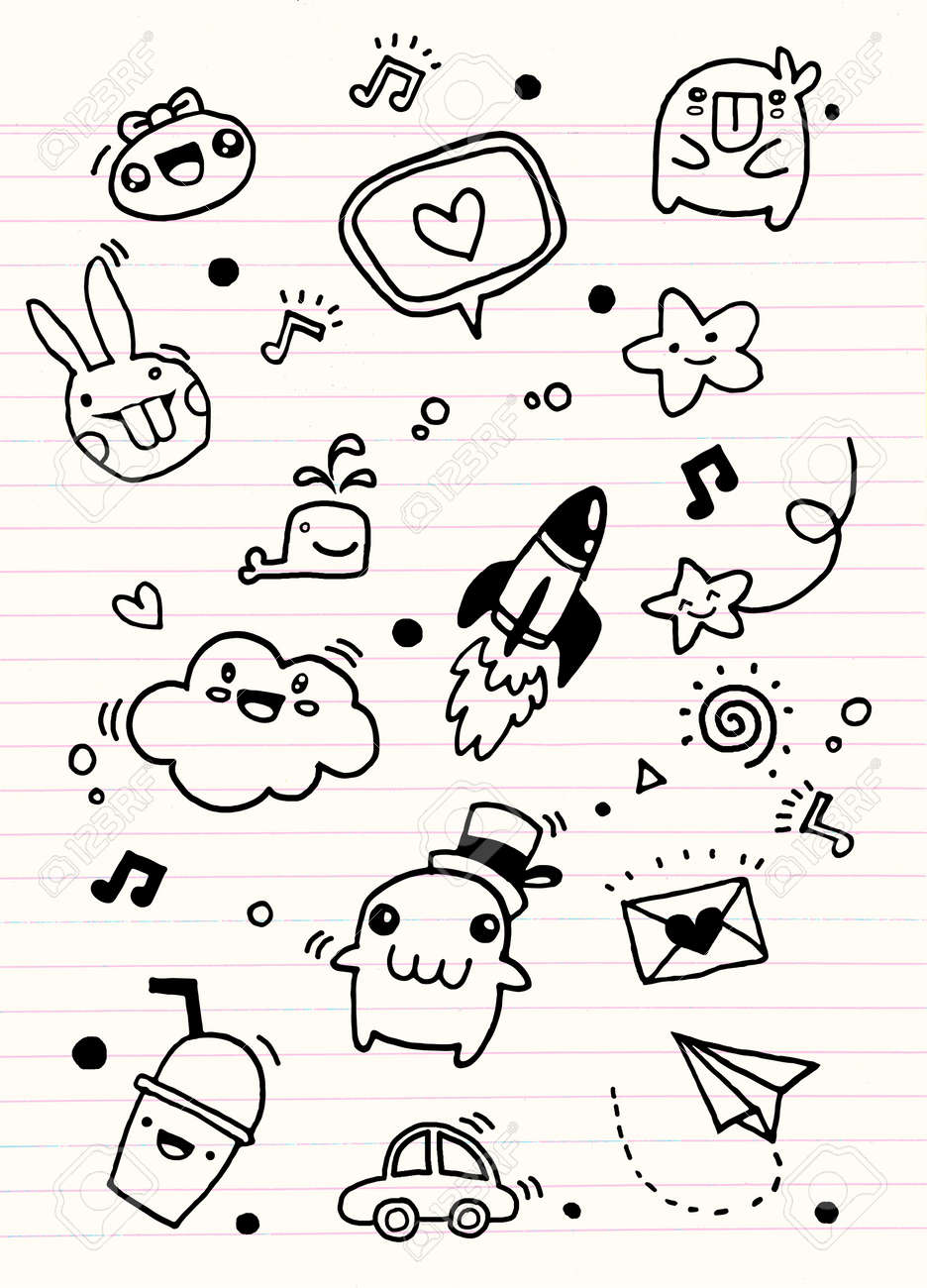 Hipster Hand Drawn Crazy Doodle Love Letter Rocket And Cute Thing