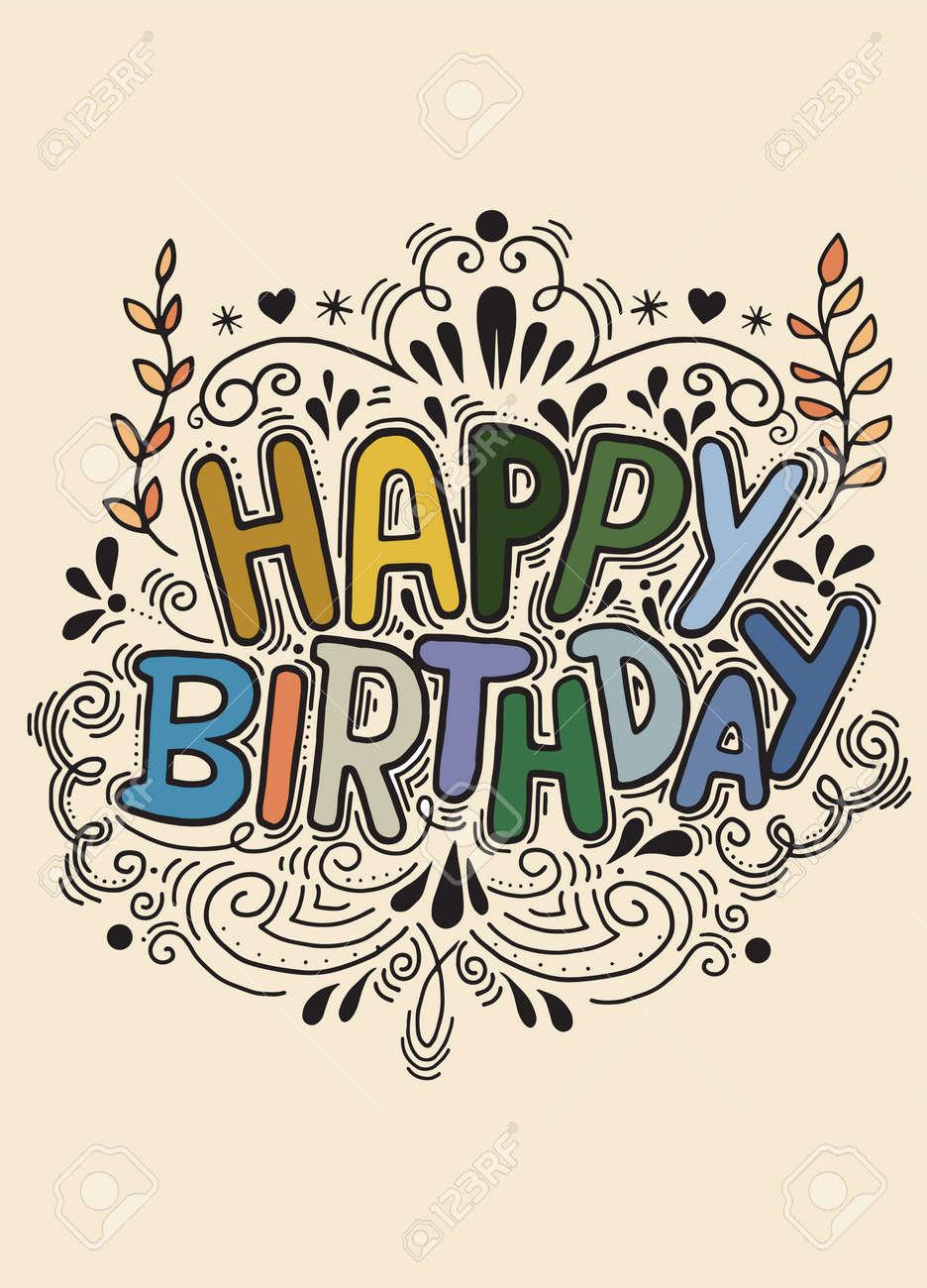 Wondrous Birthday Card Design Vintage Style Template Vector Illustration Personalised Birthday Cards Bromeletsinfo