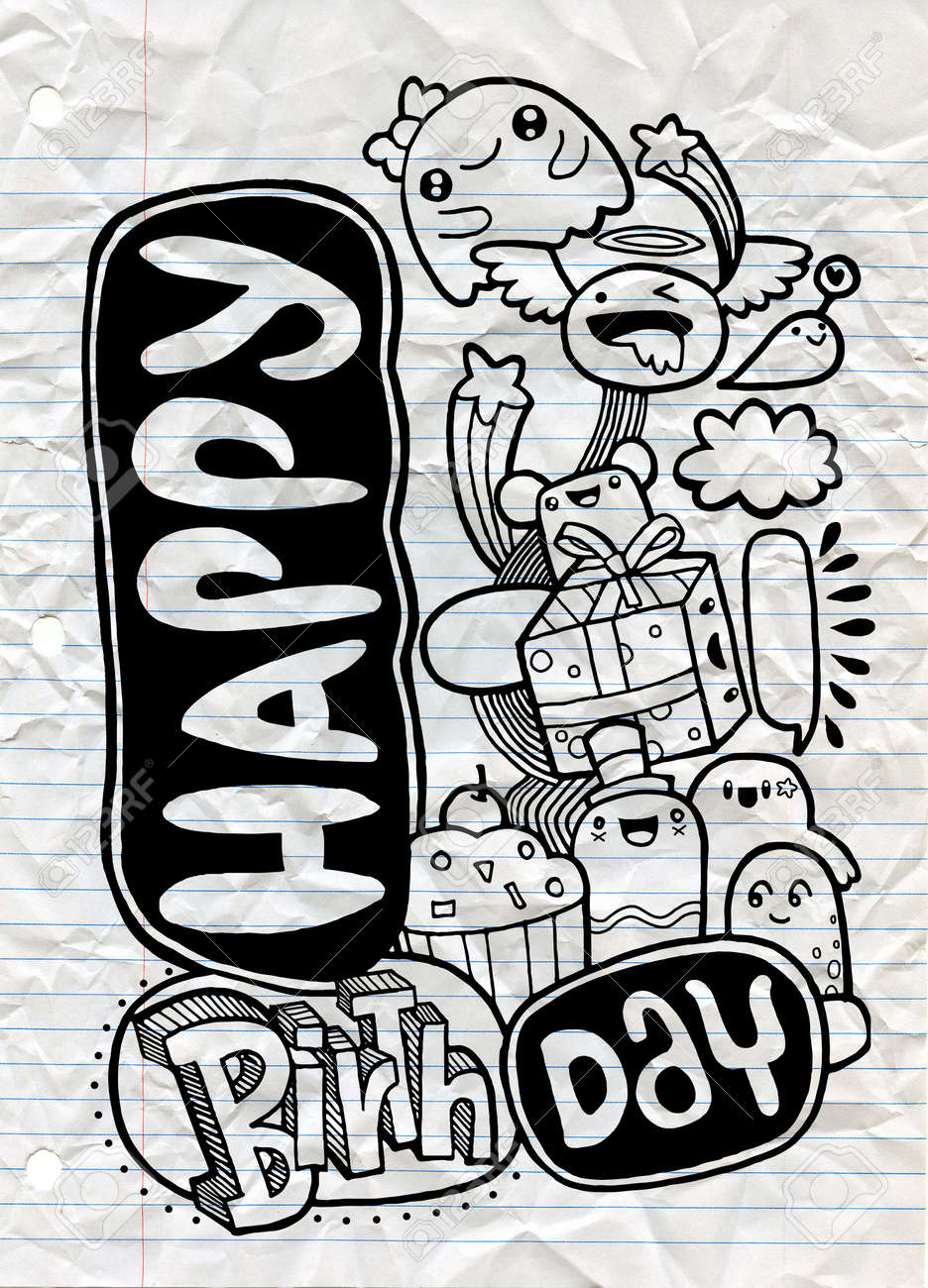 Happy Birthday Monster Party Card Design Hand Drawn Doodle Vector