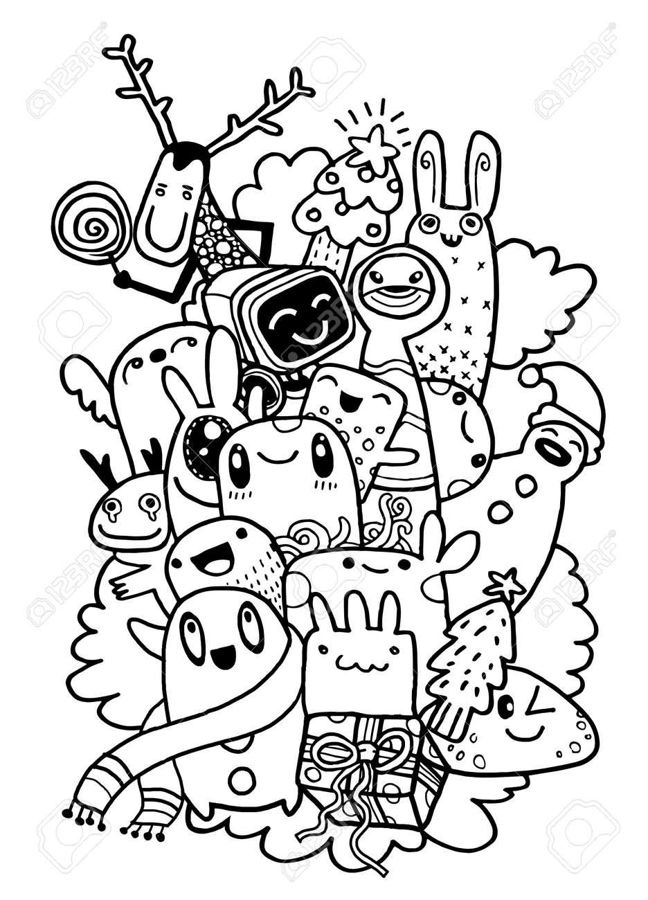 Hand drawing cartoon character,Merry Christmas  Doodles vector
