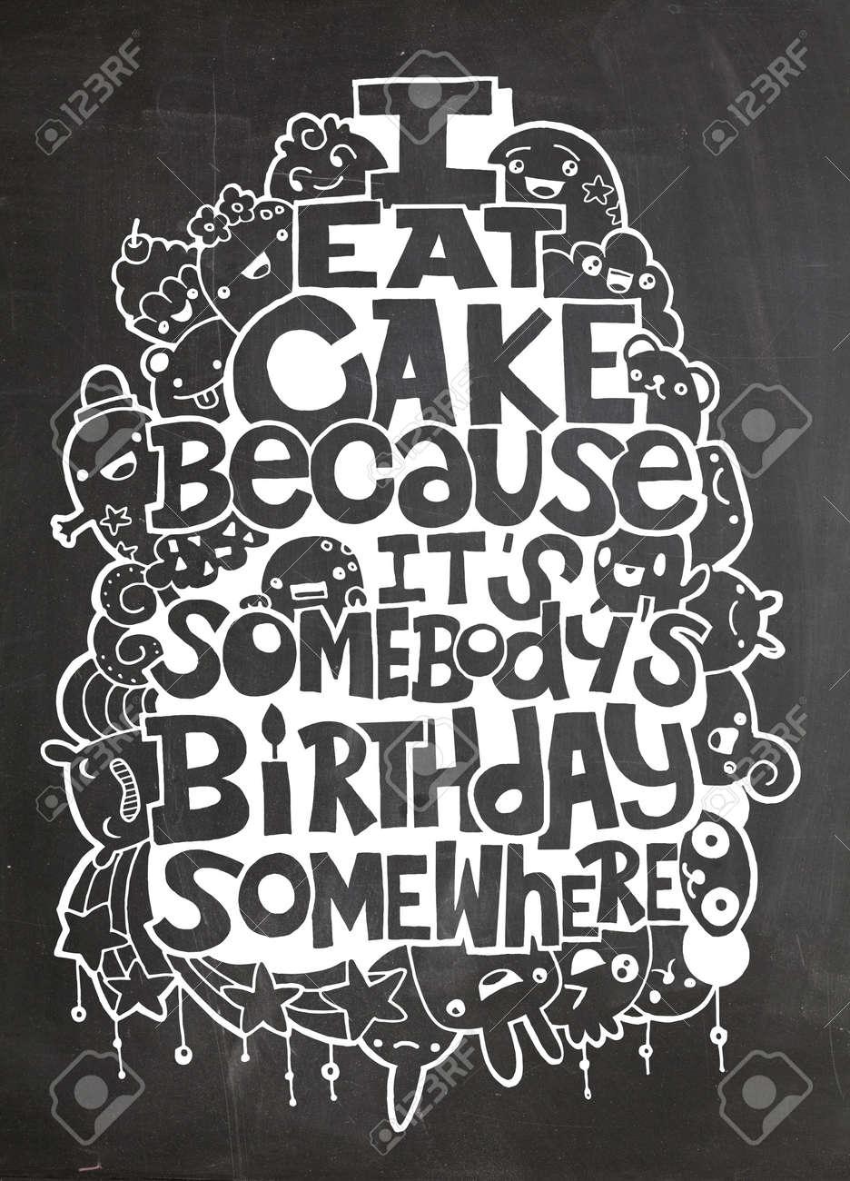 Vettoriale Mangio La Torta Perche E Il Compleanno Di Qualcuno