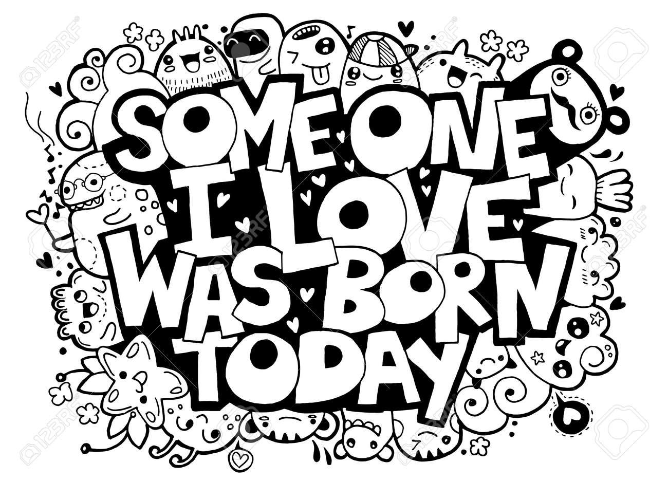 落書きのベクトル イラスト愛する人は今日では手書き文字が生まれた