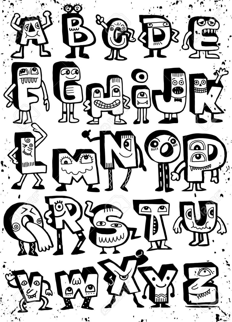 Hand drawn funny monster alphabet isolated letters doodle font hand drawn funny monster alphabet isolated letters doodle fontctor illustration stock vector altavistaventures Gallery
