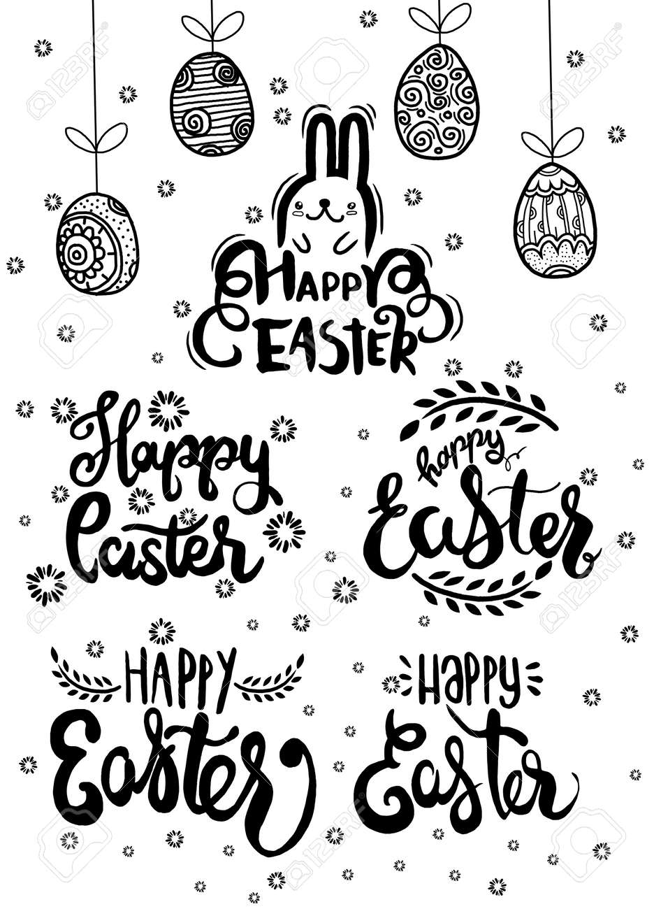 Hand Written Easter Phrases Eeting Card Text Templates With