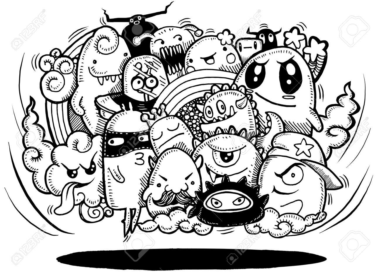 angry cartoon monster hand drawn crazy doodle monster group