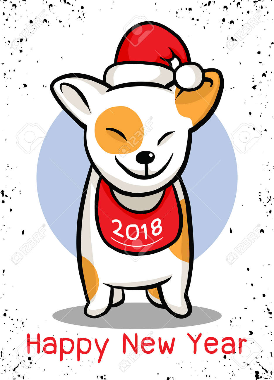 2018 happy new year greeting card christmas vector illustration of a cute doggy in a