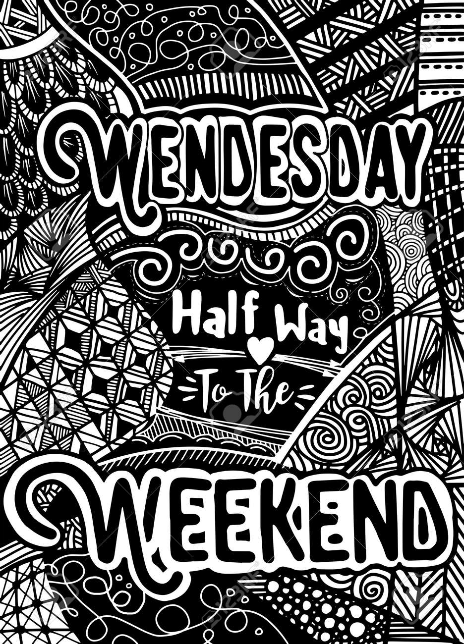 Week Days Motivation Quotes Wednesday Vector Ethnic Pattern