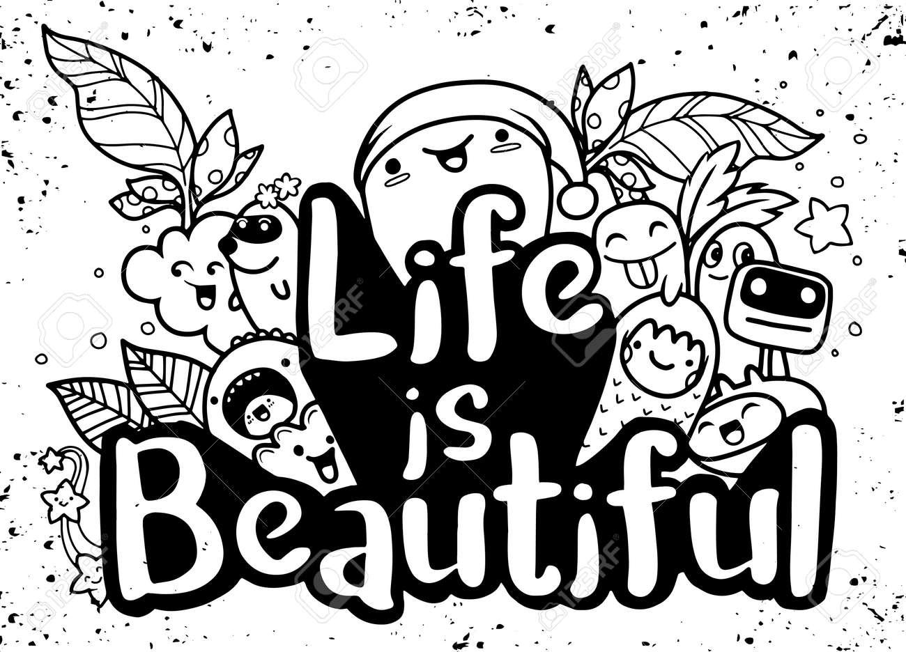 La Vita è Bella Serie Di Poster E Citazioni Di Mostri Di Mostri Opere D Arte Da Indossare Illustrazione Vettoriale Di Ispirazione