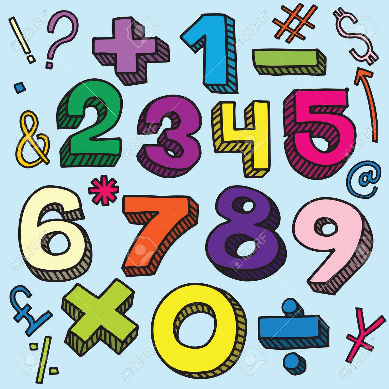 Dibujo De Numeros Y Simbolos Matematicos En Estilo Retro Letras