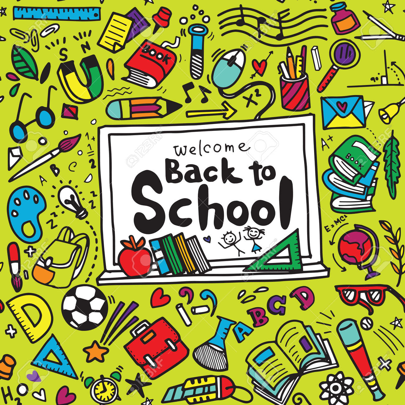 Welcome Back to School poster with doodles,Good for textile fabric