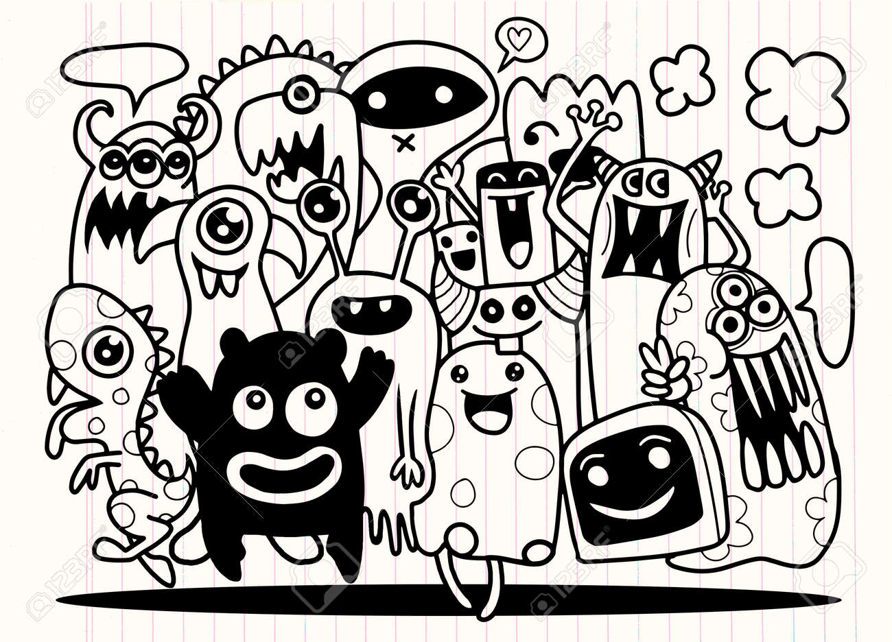 Cute Monster Set Hand Drawing Cute Doodle Monster Group Flat