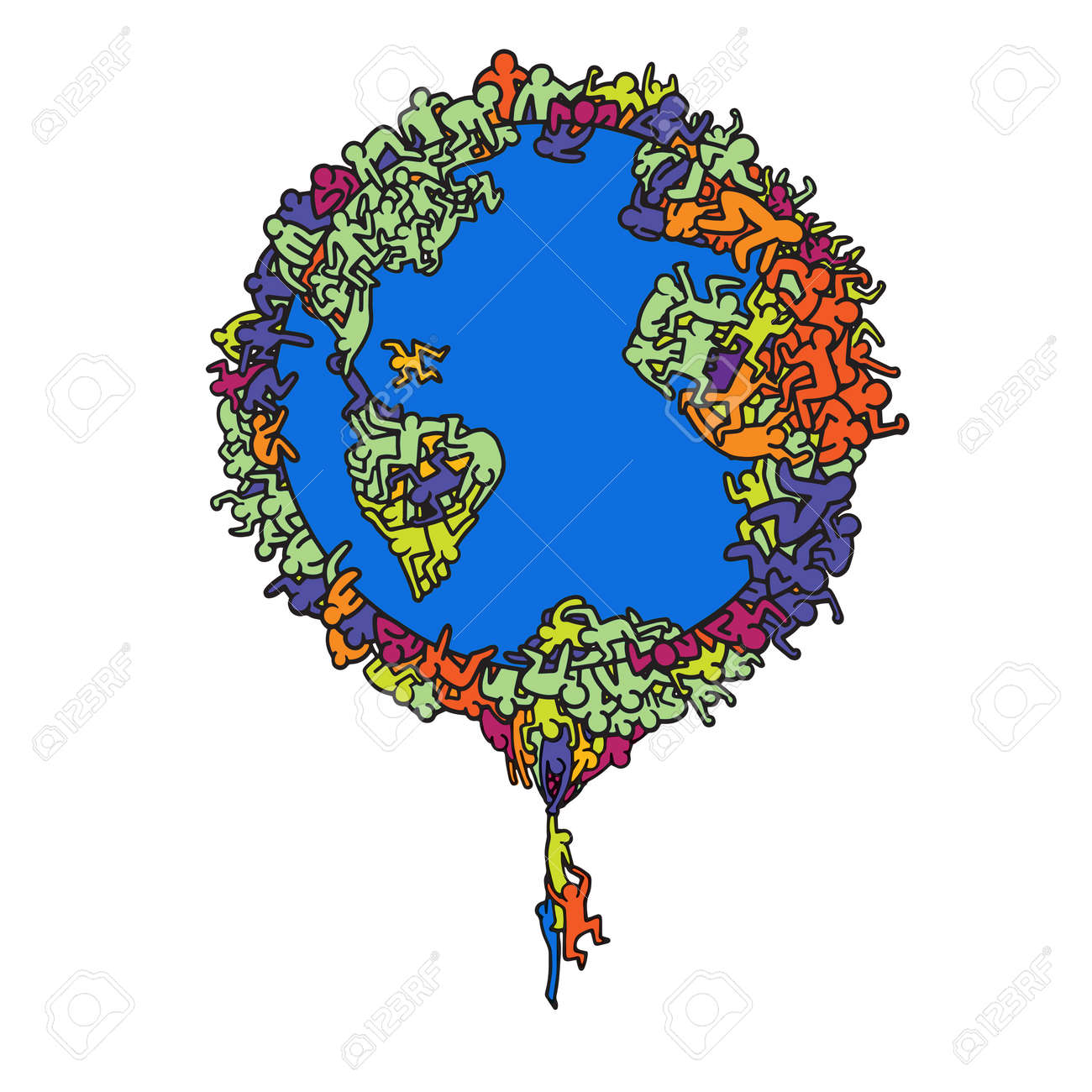 Hand Drawn Vector Illustration , Earth globe with people, illustrator line tools drawing,Flat Design - 87050511