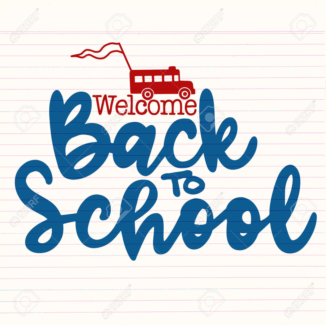 Welcome Back To School Hand Brush Lettering Doodle Or Hand Drawn