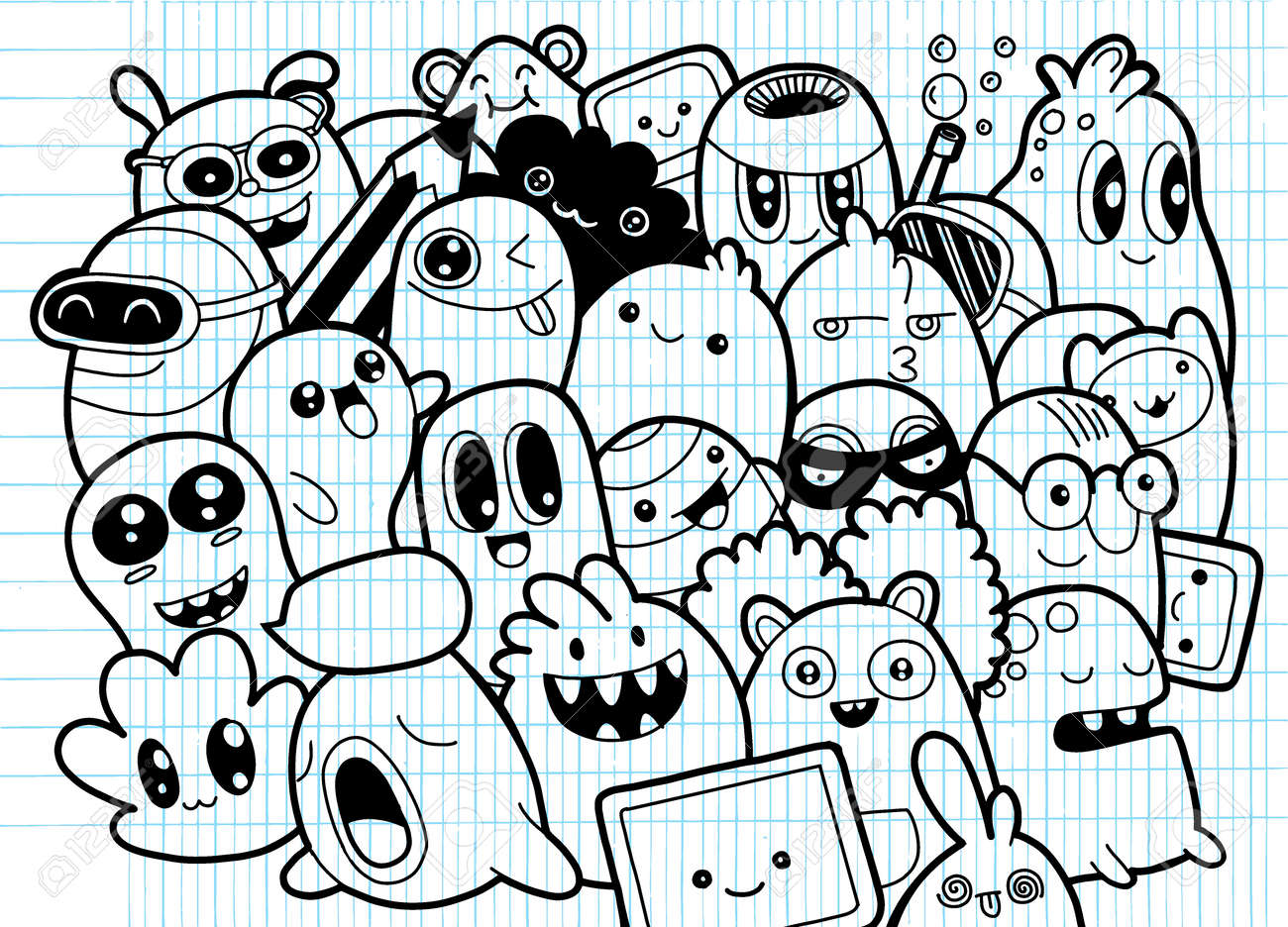 Set Of Funny Cute Monsters, Aliens Or Fantasy Pets For Kids Coloring ...