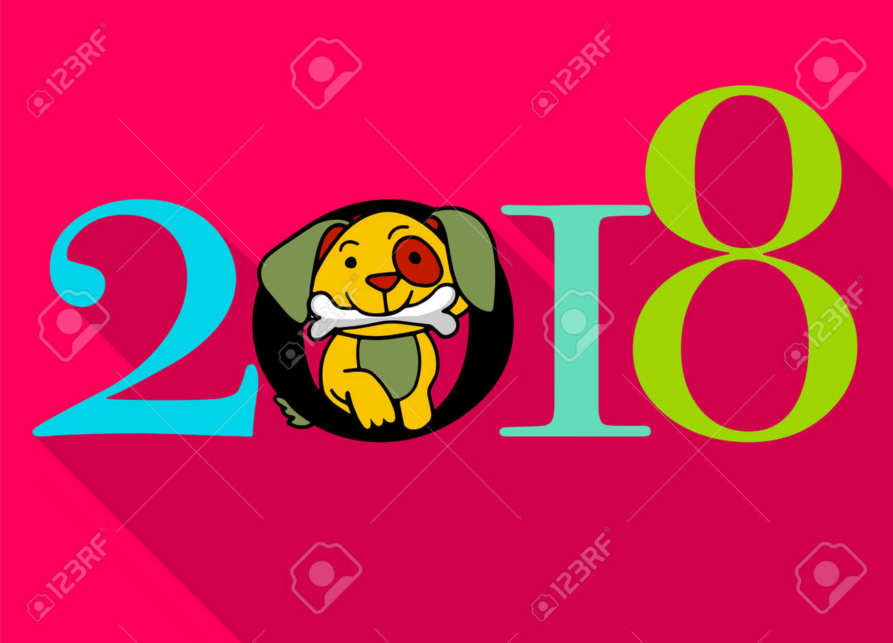 2018 happy new year greeting card celebration background with dog 2018 chinese new year