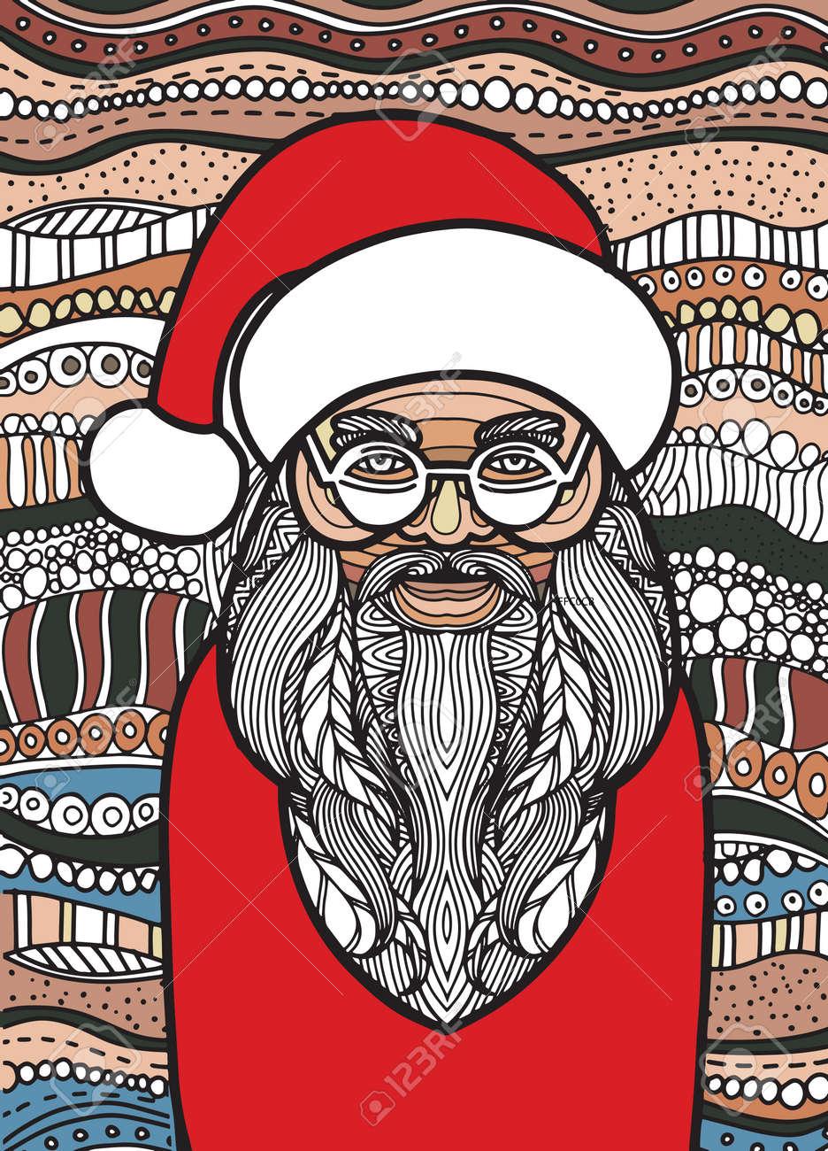 Dessin De Style Père Noël Pour Livre De Coloriage Tatouage Conception De Chemise Logo Signe Illustration Stylisée De Licorne De Cheval Dans Le