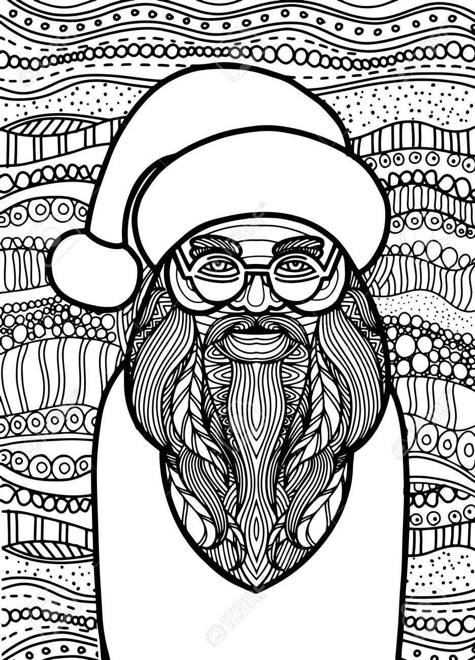 Coloriage Pere Noel Licorne.Dessin De Style Pere Noel Pour Livre De Coloriage Tatouage
