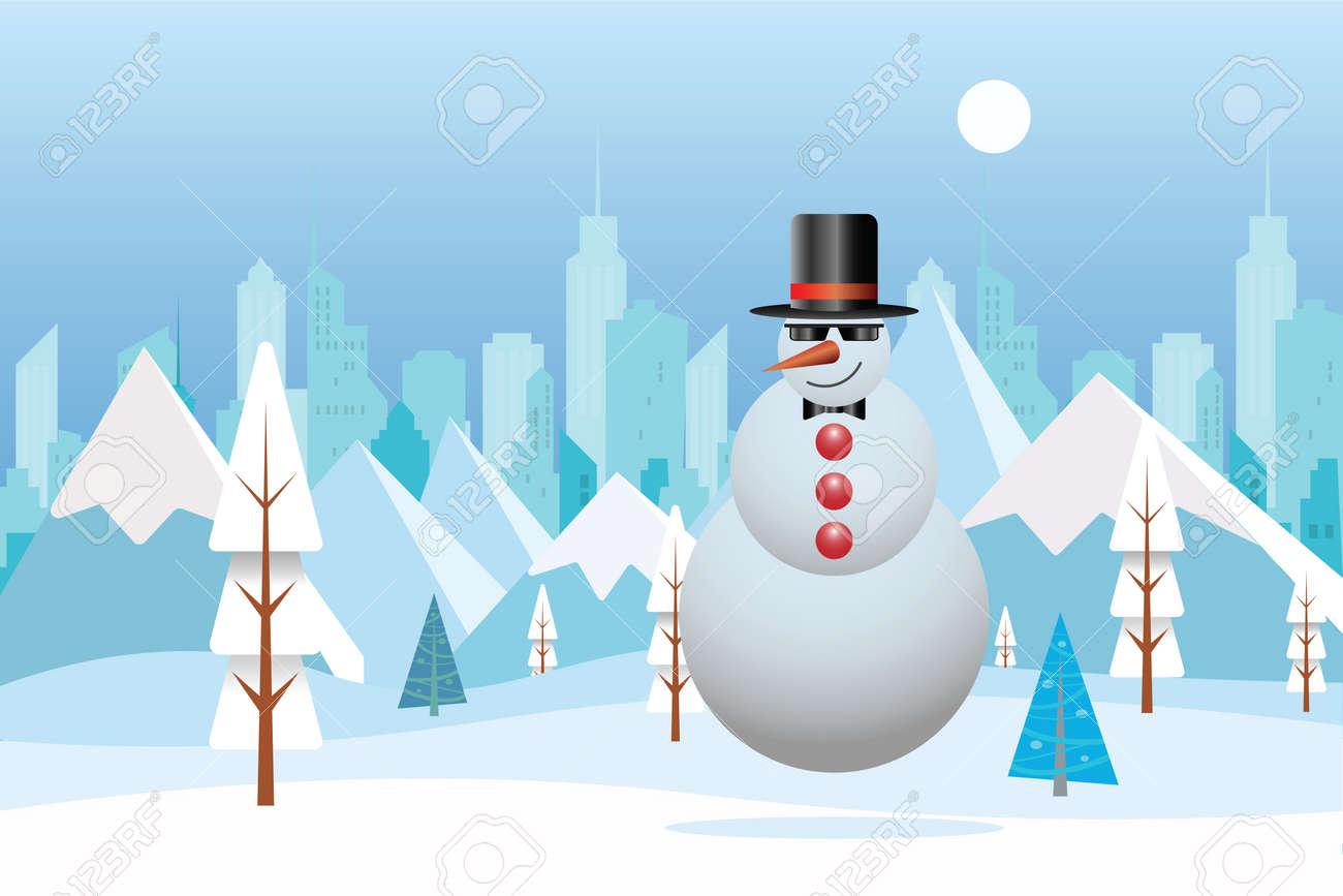 Cool Muñeco De Nieve Con Paisaje De Naturaleza De Invierno. Ciudad ...