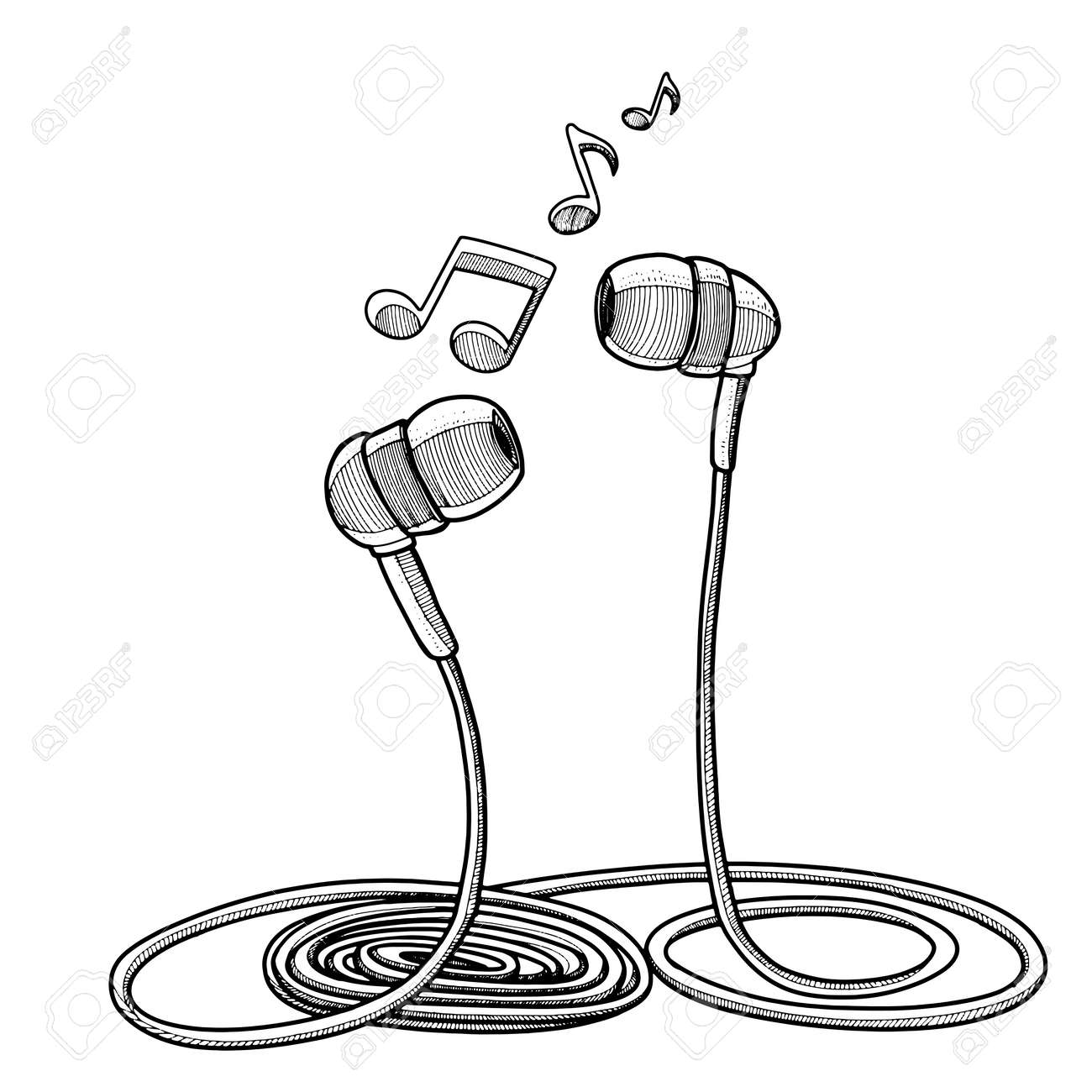Headphones Doodle Sketch Style Vector Illustration With Musical