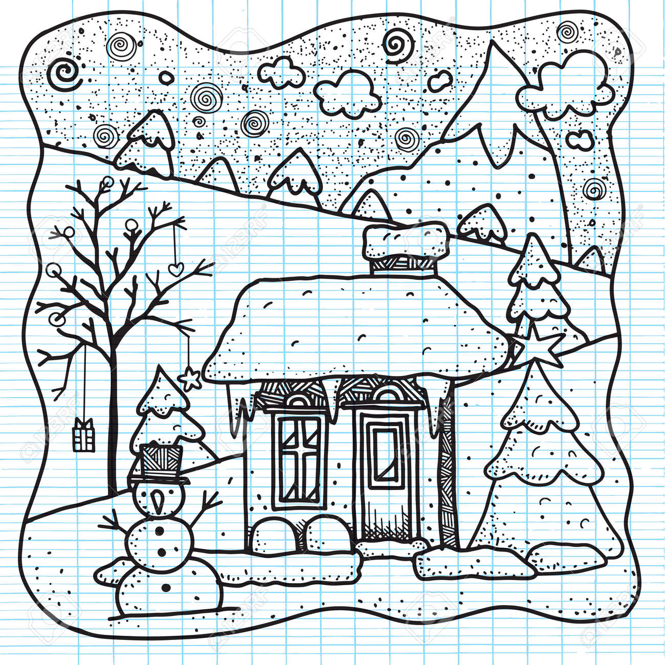 Hand Drawn Vector Illustration Christmas House Covered Snow With Snowman And Spruce Decorations Background