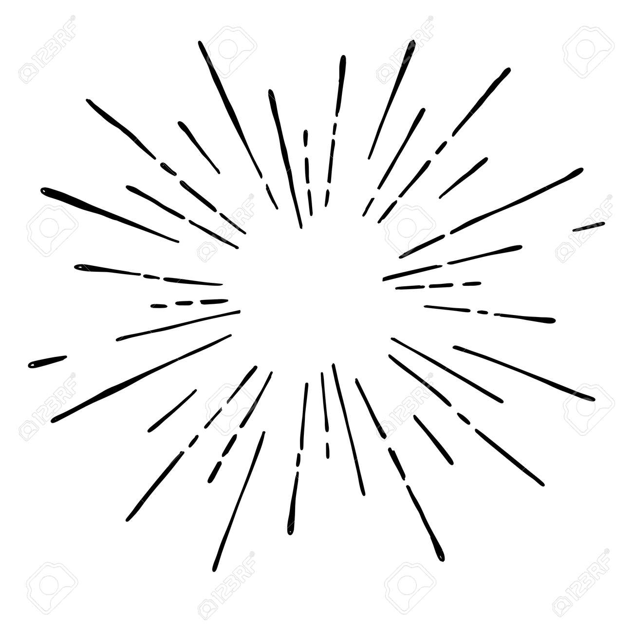 Sun burst, star burst sunshine. Radiating from the center of thin beams, lines. Design element for icon, signs. Dynamic style abstract explosion, speed motion lines from the middle. - 91704651