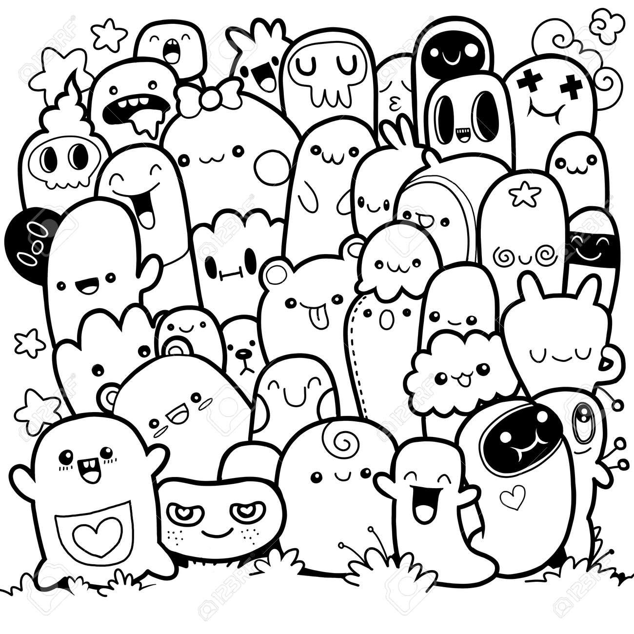 Monstruos Divertidos Patrón Lindo Monstruo Para Colorear Libro Fondo Blanco Y Negro Ilustración Vectorial