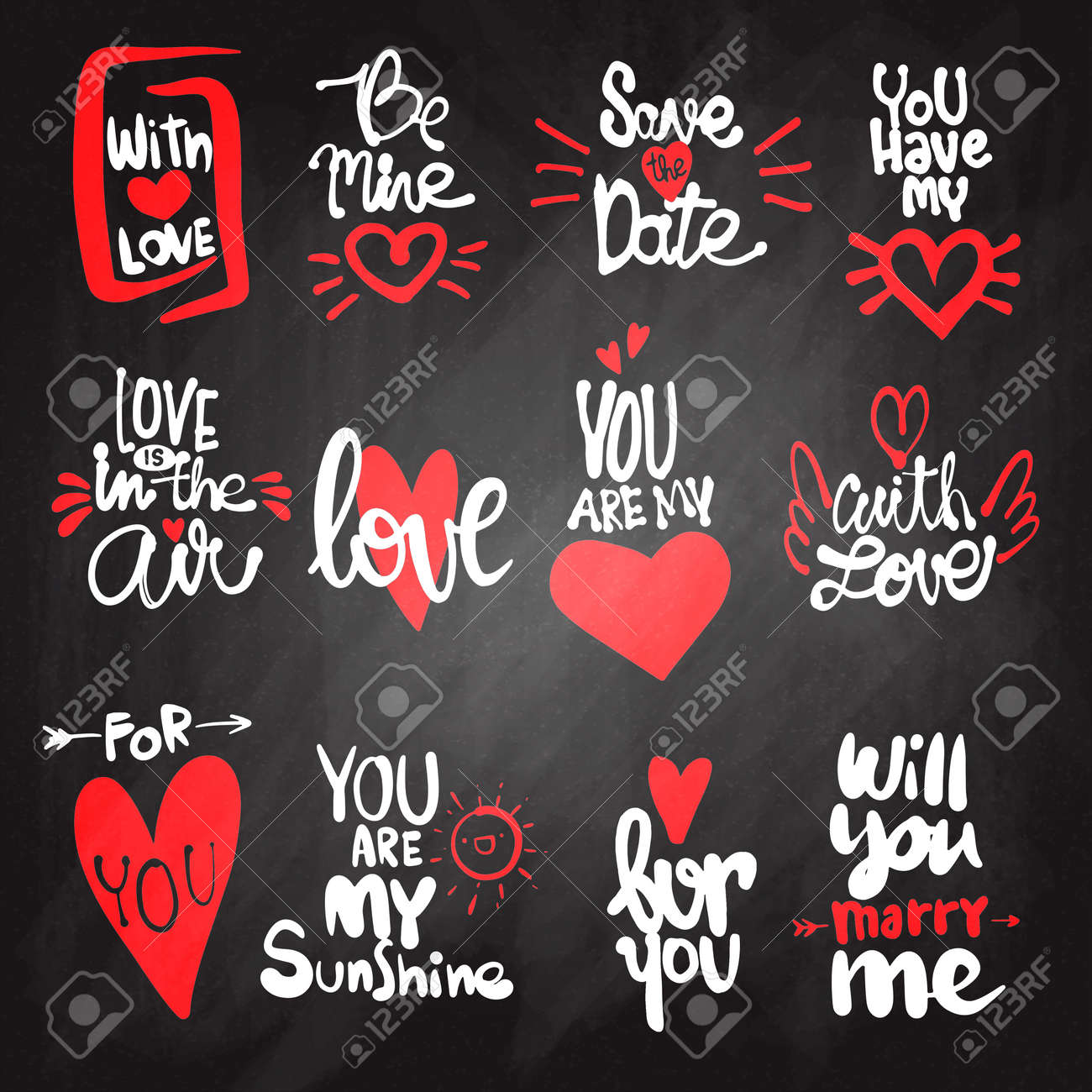 Set of Love hand drawn quotes in vector. Love messages. be mine.for..
