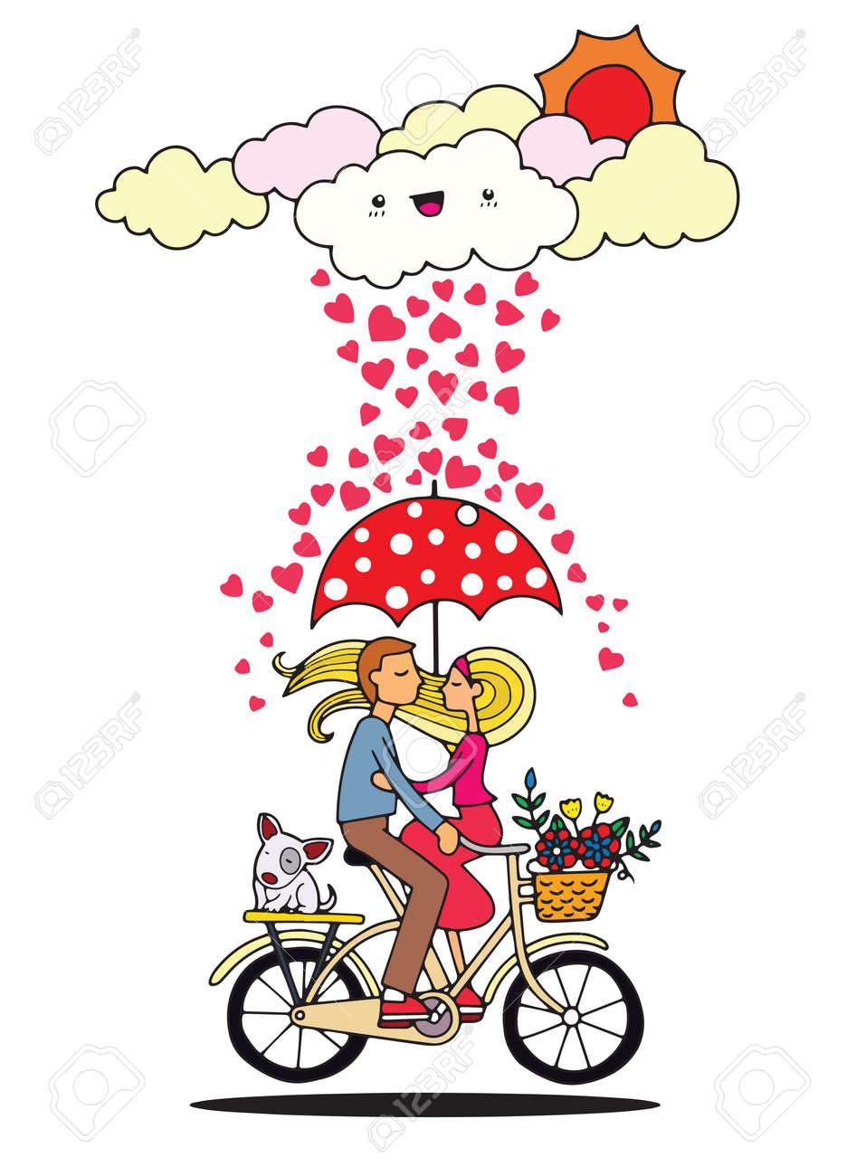 Conceito Romantico Casal Apaixonado Sob O Guarda Chuva Em