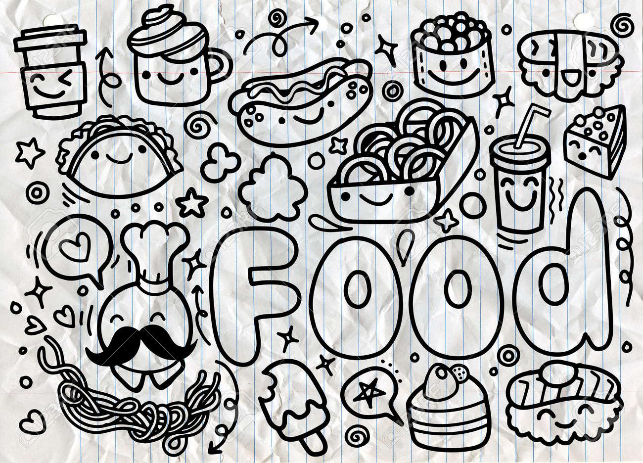 Hand Drawn Food Doodles Vector Royalty Free Cliparts Vectors And