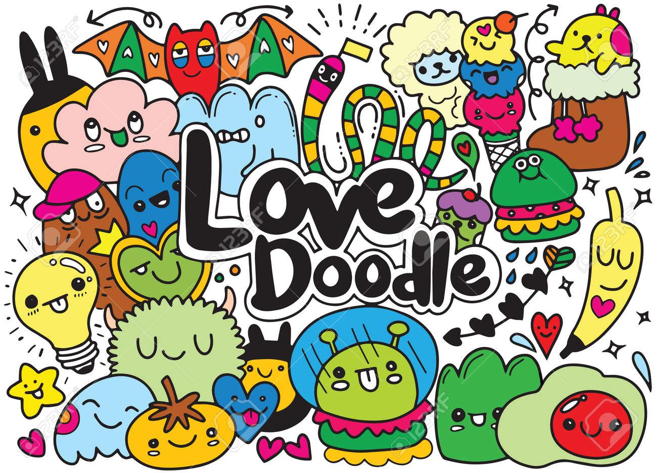 Conjunto De Divertidos Monstruos Lindos Extranjeros O Animales De Fantasía Para Niños Para Colorear Libros O Camisetas